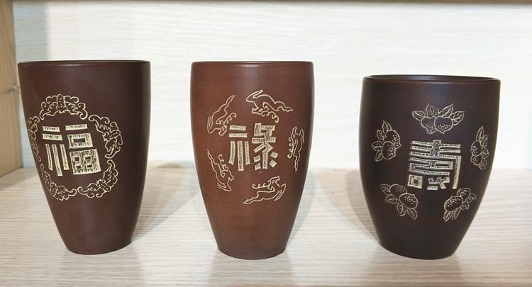 坭兴陶闻香杯,福禄寿杯