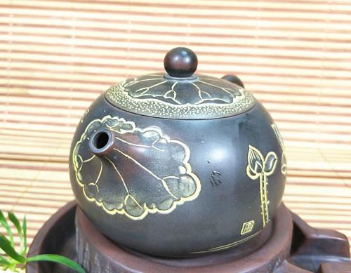 省级艺术大师宋昱国荷茶浮雕坭兴陶手工壶