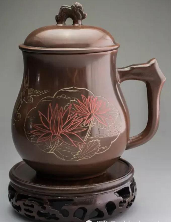 广西坭兴陶纪念杯,定做LOGO水杯