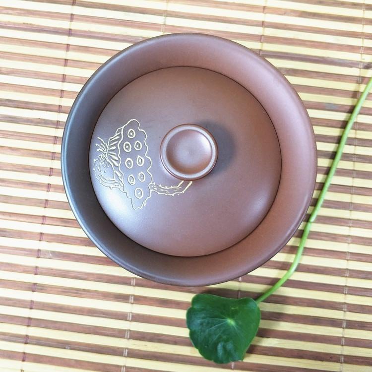 手工制作坭兴陶自然窑变大盖碗